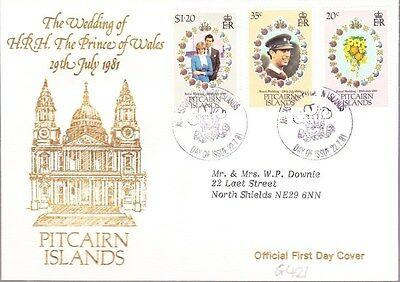 1981 Pitcairn Islands Royal Wedding First Day Cover Special Postmark G421