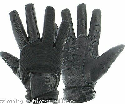 New Highlander Black Part LEATHER SPECIAL OPS GLOVES Mens Black Military Army