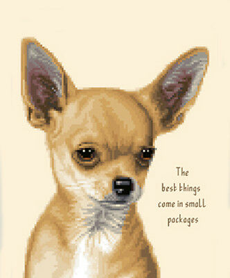 SMOOTH COAT CHIHUAHUA dog , PUPPY - Full counted cross stitch kit *Jann Designs
