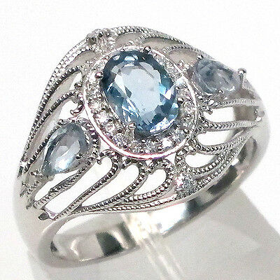 FANCY NATURAL 1.5 CT BLUE TO GREEN FLUORITE  925 STERLING SILVER RING SIZE 6.75