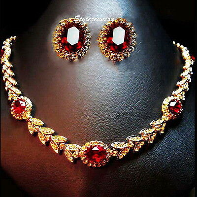Rose Gold Fill Ruby Red Wheat Tennis Bridal Set Made With Swarovski Crystal XS25