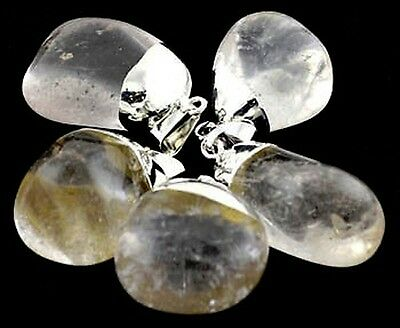 1 x TUMBLED CLEAR QUARTZ PENDANT  Wicca Reiki Pagan Witch Goth Punk New Age