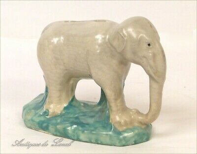 Tirelire Elephant barbotine biscuit 20e