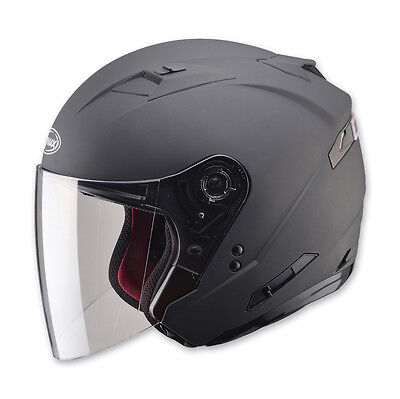 2-In-1 Flat Black Cruiser Motorcycle Helmet Retractable Visor & Full Shield Dot