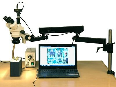 AmScope 3.5X-180X Fiber Ring Articulating Zoom Stereo Microscope + 8MP Camera
