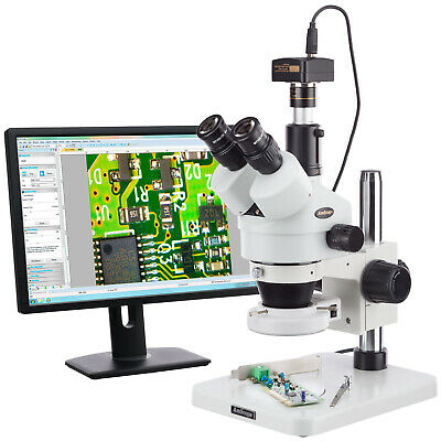 7X-45X Dissecting Circuit 144-LED Zoom Stereo Microscope with 5MP Digital Camera