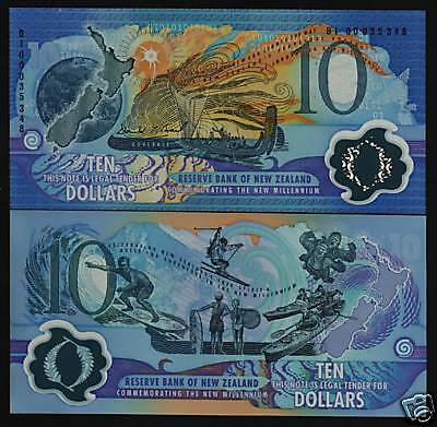 NEW ZEALAND $10 P190a 2000 *COMMEMORATIVE POLYMER* BOAT SKI UNC MILLENNIUM NOTE
