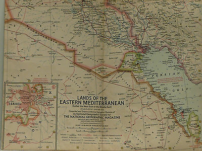 Vintage 1959 National Geographic Map of Lands of the Eastern Mediterranean