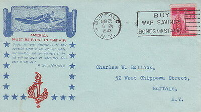 America Must Be First In The Air - 1943 Ww2 U.s. Patriotic Cachet Postal Cover