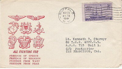 Fighting For Freedom - 1944 Ww2 U.s. Military Patriotic Cachet Postal Cover