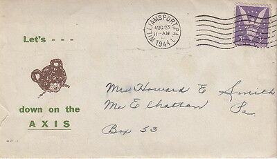 Let's Bear Down On The Axis - 1944 Ww2 U.s. Patriotic Cachet Postal Cover