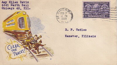 Clear The Tracks - 1950 Postmarked Ww2 U.s. Patriotic Cachet Postal Cover