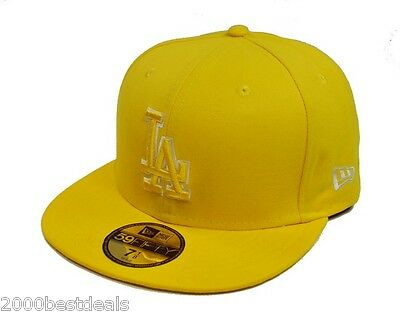 New Era 59Fifty Mlb Basic Cyber Yellow Fitted Hat Cap Los Angeles Dodgers  5950 cff43247ce3