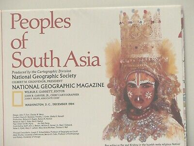 Vintage 1984 National Geographic Map People of South Asia (a)