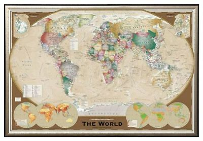 World map antique style poster print in black wood frame 24x36 world map triple view educational office print in premium gold wood frame 24x36 gumiabroncs Images