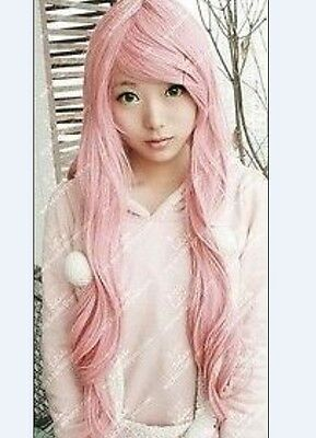 Hot Sell ! New Fashion Long Curly Cosplay Light Pink Party Wig Wigs H132
