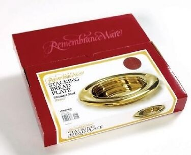"Communion Bread Plate 10"" - Stacking Stainless Steel Brass Color - NEW"
