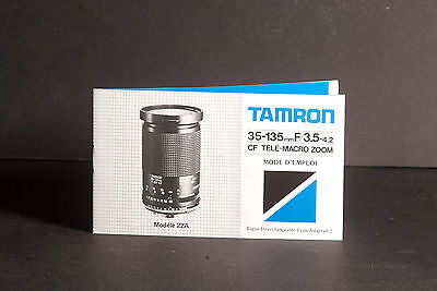 Tamron 35-135mm f/3.5-4.2 CF Tele-Macro Zoom Adaptall 2 Instruction In French