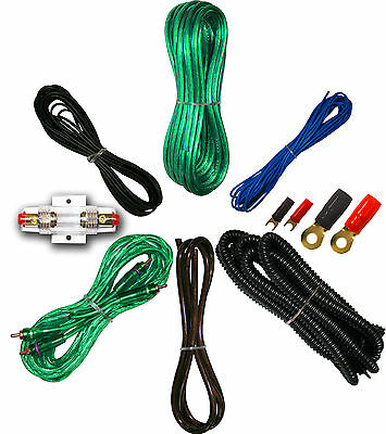 IMC Audio 8 Gauge Power Wire Amp Amplifier Install Kit GREEN 2 Yr Warranty