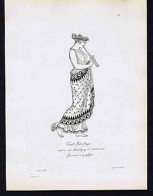 Ancient Greek Female Flute Player-1809 Copper Engraving by Moses