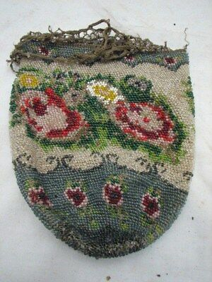 Early Hand Beaded Purse Floral Decorated Antique Clutch Hand Bag Glass Seed