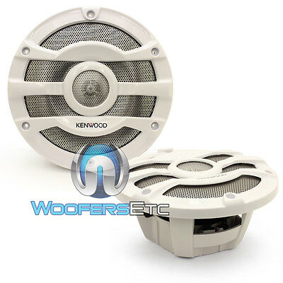 "Kenwood Kfc-2053Mrw 8"" White 2-Way Marine Boat Audio 300W Coaxial Speakers New"