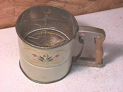Vintage Androck Triple Flour Sifter Tulips