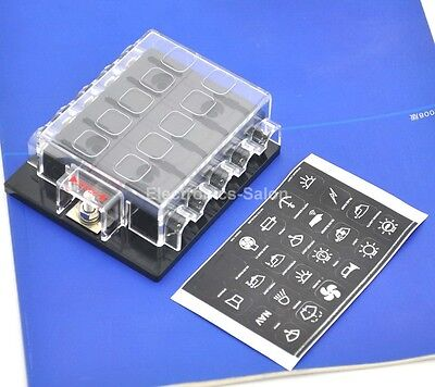 10 Position ATO/ATC Fuse Panel, W/Cover and Label, Fuse Block.