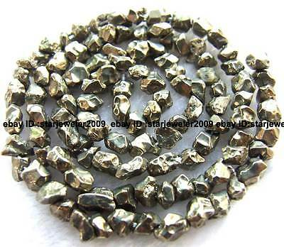 3-4mm pyrite Gemstone freedom smooth loose Beads 16""