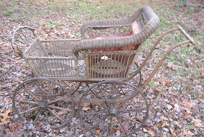 Antique Primitive Wood Iron Wicker Wheel Baby Carriage Buggie Toy Doll Stroller