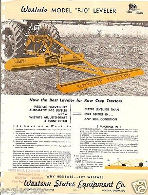 Farm Implement Brochure - Westate - F-10 - Leveller for Row Crop Tractors (FB709