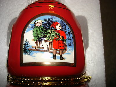MR CHRISTMAS MUSICAL LIMOGE ORNAMENT HOLIDAY BELL O COME ALL YE FAITHFUL RED
