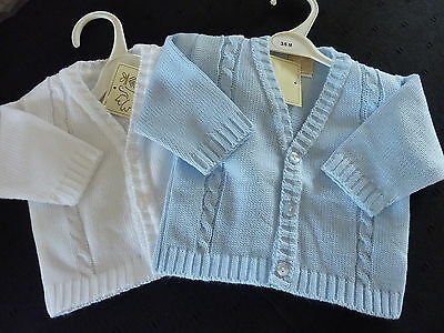 BOYS SMART KNITTED CARDIGAN- BLUE OR WHITE- NEWBORN...0-3m...3-6m...6-12m