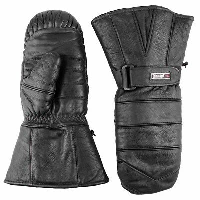 Snowmobile Gloves Adult Leather Mitten Snow Warm Ski Winter Black