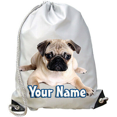 88f00656ea53 Pug Dog   Puppy Personalised Gym   Swimming   Pe   Dance Bag -Great Gift