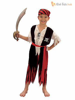 Boys Pirate Costume Kids Caribbean Fancy Dress Outfit Age 4 5 6 7 8 9 10 11 12