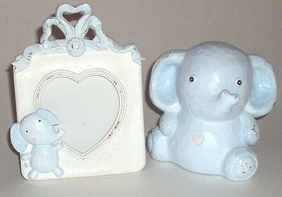 Baby Boy Infant Picture Frame Elephant Bank Blue Rustic Painting, NEW