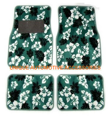 4Pcs Green Hawaiian Flowers Premium Carpet Front Rear Car Floor Mats Set Mt02Cs5