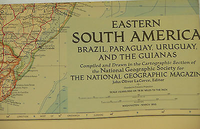 Vintage 1955 National Geographic Map of Eastern South America (c)