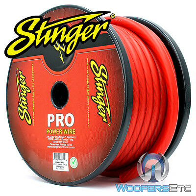 Stinger Spw10Tr-50 Pro 1/0 Gauge Ga Awg Red 50 Feet Power Ground Wire Cable Cord