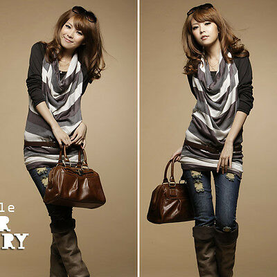 Fashion Womens 2 Pieces Stylish Long Sleeve Casual Top T-Shirt Tops Blouse #134