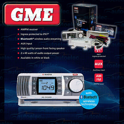 Gme Gr300 Boat Marine Radio Waterproof Dustproof Am Fm Lcd Disp Bluetooth White