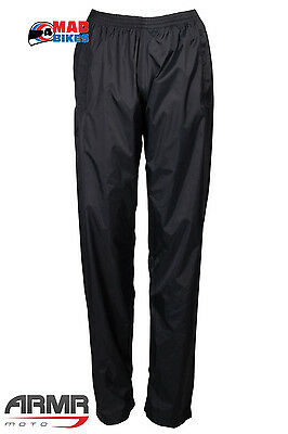 Armr Moto Unlined Waterproof Motorcycle Over Trousers In Black