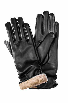 New Fashion Womens Faux Leather Winter Warm Long Soft Gloves