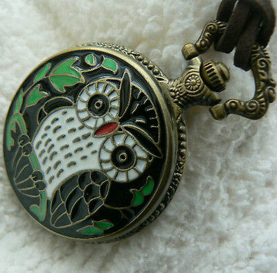 Unusual gift for her Owl Pocket Watch Leather Necklace Etched Quirky Vintage