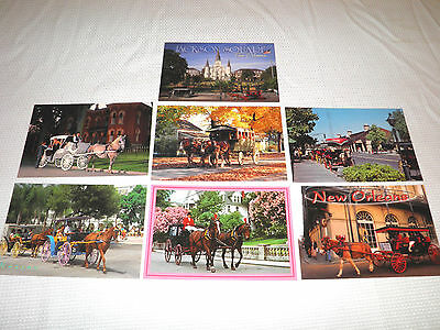 "Lot of 7 Postcards of "" Horse Carriages "" --- Animal Transportation Postcard Lot"
