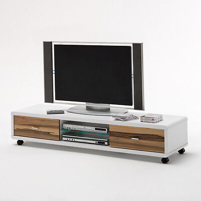 tv board jerky lowboard in wei und baltimore walnuss glas eur 319 95 picclick de. Black Bedroom Furniture Sets. Home Design Ideas