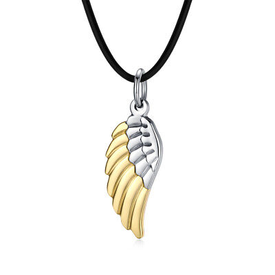 T&T 316L Stainless Steel Angel Wing Pendant Necklace with Sparking CZ
