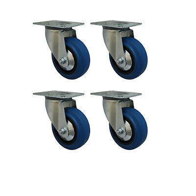 4 Stück 125 mm Blue Wheels Rollen Transportrollen Lenkrollen
