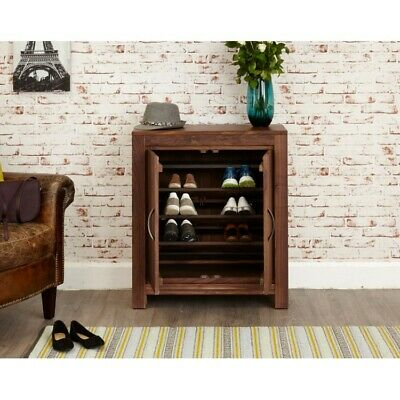 Grand Walnut Wood Furniture Hallway Shoe Rack Storage Cupboard Dark Modern Style